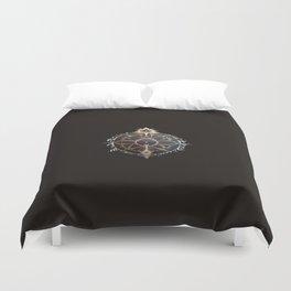 Saraswati Mandala Black Duvet Cover