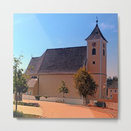 The village church of Sankt Stefan III | architectural photography Metal Print