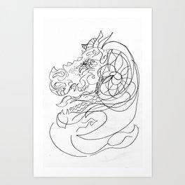 Dragon and capricorn Art Print