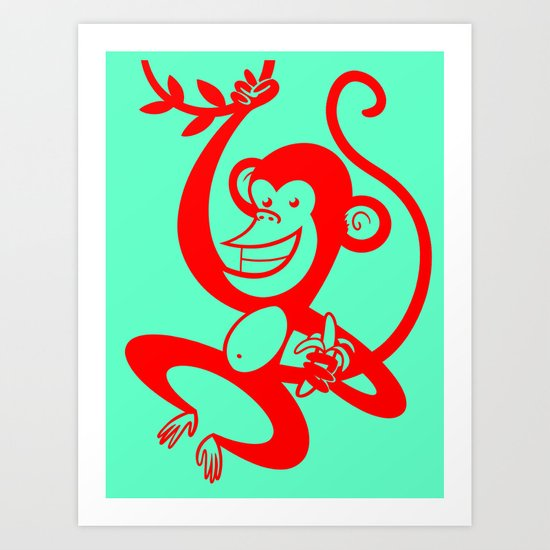 Red Monkey Art Print