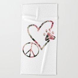 Peace Love Dog 1 Beach Towel