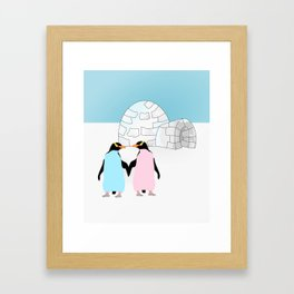 Penguins and Igloo Framed Art Print