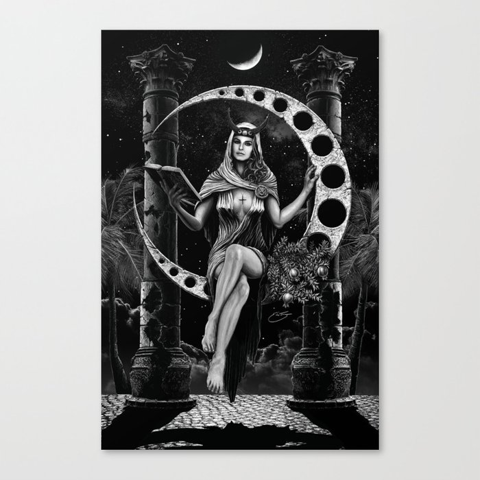 II. The High Priestess Tarot Card Illustration Canvas Print