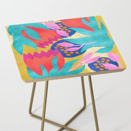 Bold Flower Pattern Yellow Background Side Table
