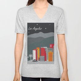 Los Angeles, California - Skyline Illustration by Loose Petals Unisex V-Neck