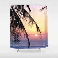 bali Shower Curtains featuring Bali Sunset by Coconut Living