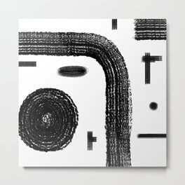 Shape Study Black on White Metal Print