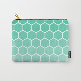 Teal gradient honey comb pattern Carry-All Pouch