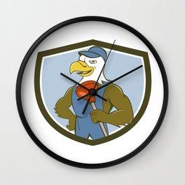 Bald Eagle Plumber Plunger Crest Cartoon Wall Clock