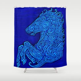 Blue Celtic Horse Abstract Spirals Shower Curtain