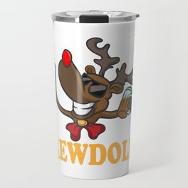 Brew Dolph Beer Lover Rudolph Christmas Holiday Travel Mug