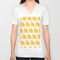 orange pattern V-neck T-shirts featuring Orange Pattern by MarianaLage