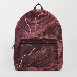 Cracked brown red marble paint Backpack