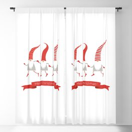 Dancing Nisse Merry Christmas Banner Blackout Curtain