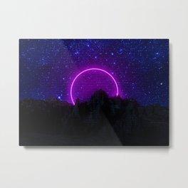 Retro 80's Mountain Landscape Galaxy Neon Art Edit Metal Print