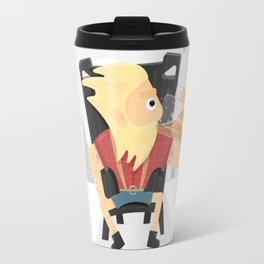 Brutal Viking on a throne with a beer. Travel Mug