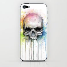 Skull Rainbow Watercolor Painting iPhone & iPod Skin