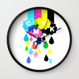 CMYK Rainy Day Wall Clock