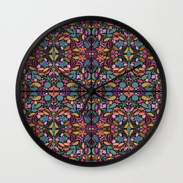 Stained Glass Flower Pattern Wall Clock