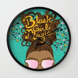 Black Girl Magic Teal Wall Clock