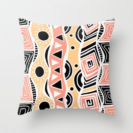 Four Waves - Black Orange Yellow Throw Pillow