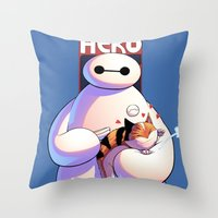 big hero 6 Throw Pillows featuring Baymax - Big Hero 6 by J Skipper