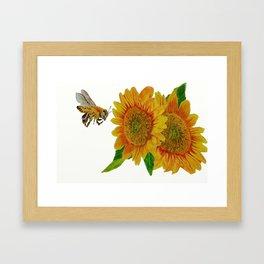 Summer Bee Yellow Sunflower Painting Framed Art Print