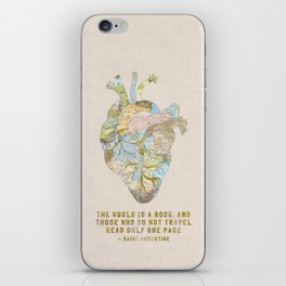 A Traveler's Heart + Quote iPhone Skin