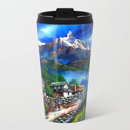 Panoramic View Of Everest Mountain Travel Mug