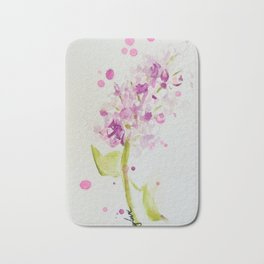Lilac Sweet Pink Blossom watercolor by CheyAnne Sexton Bath Mat