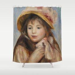 """Auguste Renoir """"Girl with Pink Bonnet (Jeune fille au chapeau rose)"""" Shower Curtain"""