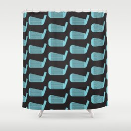 Golf Club Head Vintage Pattern (Black/Blue) Shower Curtain