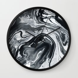 Marble in Black Ink Wall Clock