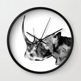 Rhinoceros, black and white Wall Clock