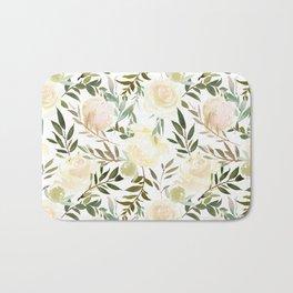 Modern blush yellow pink green watercolor botanical pattern Bath Mat