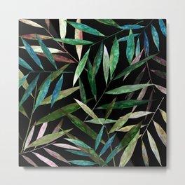 Color Bamboo Leaves at Night Metal Print