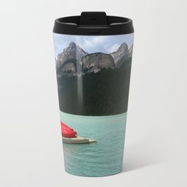 Lake Louise Red Canoes Travel Mug