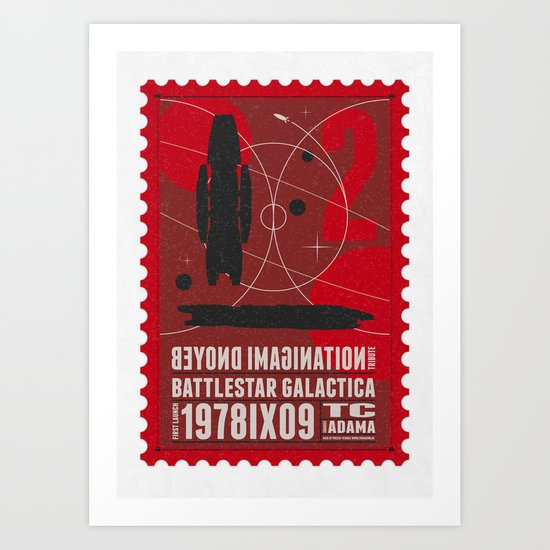 Beyond imagination: Battlestar Galactica postage stamp  Art Print