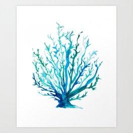 Watercolor Blue + Green Coral Art Print