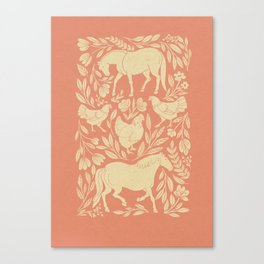 Horses and Chickens Canvas Print
