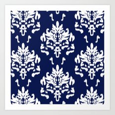 SOPHISTICATED- NAVY IKAT Art Print