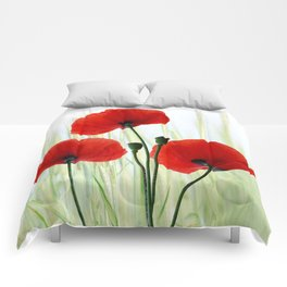 Poppies red 008 Comforters