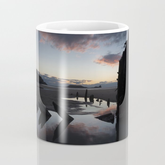Sunset over the Helvetia at Rhossili Bay Coffee Mug
