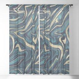 Teal Navy Blue Gold Marble #1 #decor #art #society6 Sheer Curtain