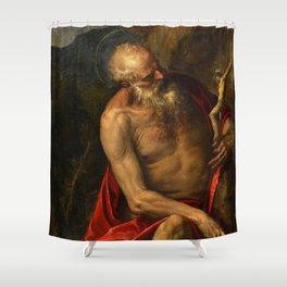 "Veronese (Paolo Caliari) ""Saint Jerome meditating"" Shower Curtain"