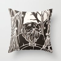 gnome Throw Pillows featuring Gnome by Aubree Eisenwinter