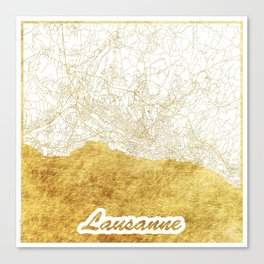 Lausanne Map Gold Canvas Print