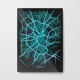 Norwich, England, Blue, White, Neon, Glow, City, Map Metal Print