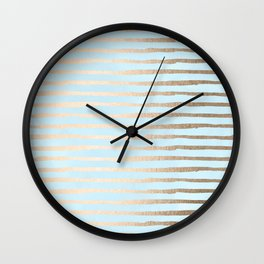 Abstract Stripes Gold Tropical Ocean Sea Turquoise Wall Clock