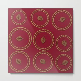 Bright Burgundy Red Gold Leaf Pattern Metal Print